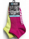Better Bodies Short Socks 2-Pack, Pink/Lime