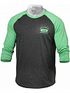 Better Bodies Mens Baseball Tee, Green/Grey Melange